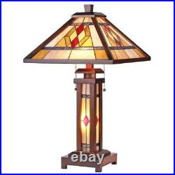 Stained Glass Chloe Lighting Mission 3 Light Double Lit Table Lamp 15 Shade