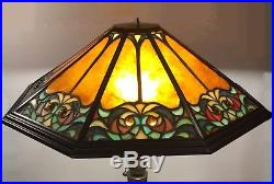 Stained glass lamp shade. Mission / Arts & Crafts style. Low and wide. Cabochons