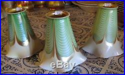 Steuben Art Glass 3 GREEN PULLED FEATHER LAMP SHADES 5 Tall Set of 3