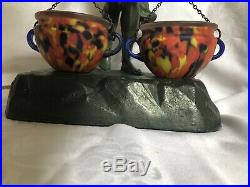 Stunning Antique C1920s Art Deco Nude Lady Lamp With Art Glass End Of Day Shades