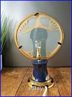 Stunning Art Nouveau Style Semi Nude Lady Resin & Glass Table Lamp By O Tupton