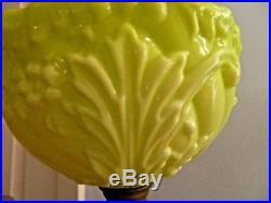 Stunning Duplex Art Nouveau Brass Oil Lamp Lovely Lime Green Glass Font Shade