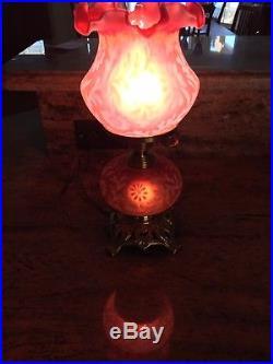 Stunning Fenton /LG Wright Daisy & Fern Cranberry Satin Glass Lamp