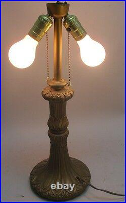 Superb Antique American ART NOUVEAU Slag Glass Lamp c. 1910 panel leaded