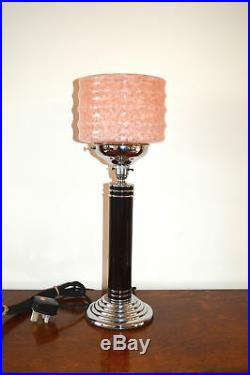 Superb Art Deco table lamp Chrome with mottled peach ribbed glass shade c. 1920