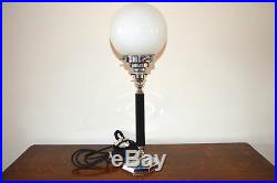 Superb Art Deco table lamp Chrome with opaline glass shade c. 1920