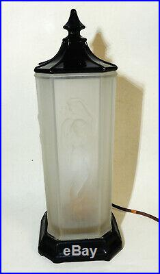 TIFFIN Nude Nymph Antique vtg 1930s Art Deco Satin Glass LAMP Complete & Works