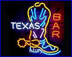 Texas Boot Bar Neon Light Sign 24x12 Beer Lamp Decor Glass Bar Artwork