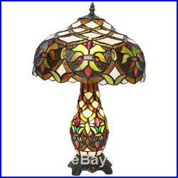 Tiffany Glass 2 Way Table Lamp Bulb in Shade and Base Art Deco style (Anita)
