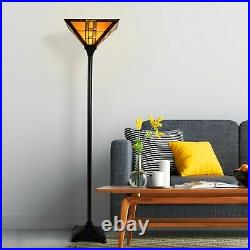 Tiffany Stained Glass Egyptian Style Metal Floor Lamp Vintage Lighting LED Bulb