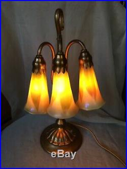 Tiffany Studios Art Nouveau Three Light Lily Lamp