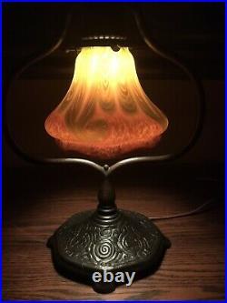 Tiffany Studios Bronze Lamp Loetz Art Glass Damascene Favrile Shade Handel Era