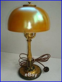Tiffany Studios Desk Lamp With Gold Favrile Art Glass Shade Both Signed