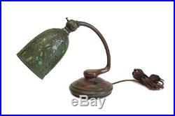 Tiffany Studios Grapevine Pattern Bronze and Green Slag Glass Desk Lamp, 19th C