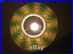 Tiffany Studios L. C. T. Favrile Art Glass Damascene Mission Antique Lamp