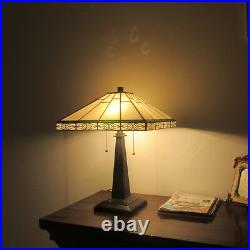 Tiffany Style 2 Bulb Mission Stained Glass Desk Table Lamp Arts And Crafts