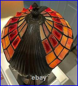 Tiffany Style Art Nouveau Stained Glass Accent Lamp, Statue Base. 12h