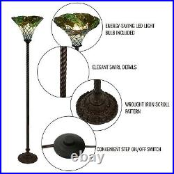 Tiffany Style Floor Lamp Leaf Stained Shade Glass Metal Base Elegant Home Decor