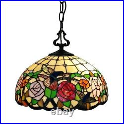 Tiffany Style Hanging Pendant Lamp Stained Glass Rose Theme Ceiling Light 16in