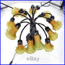 Tiffany Style Lily Lilly Pad Pond Lamp 15 Light Stained Art Glass Tulip Shades