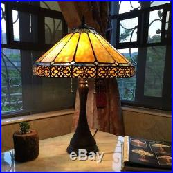 Tiffany Style Mission Arts & Craft Stained Glass 2 Bulb Table Desk Lamp