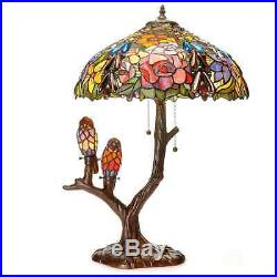 Tiffany Style Stained Glass Art Copper Finish Antique with Birds Accent Table Lamp