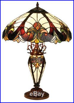 Tiffany Style Stained Glass Table Lamp Lighted Base Arts & Crafts 18 Shade