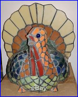 Tiffany Style Stained Glass Turkey Lamp, Thanksgiving RARE Cracker Barrel