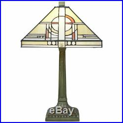 Tiffany Style Table Lamp 12 Glass Square Art Deco Shade and Resin Base (Khufu)