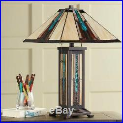 Tiffany Style Table Lamp with Nightlight Mission Bronze Art Glass Living Room
