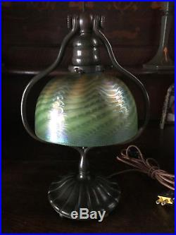 Tiffany studio L. C. T. Favrile art glass damascene lamp handel steuben quezal era