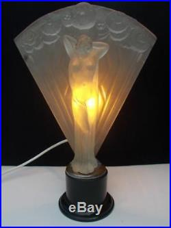 Ultra Rare Brockwitz Art Deco Frosted Glass Figural Lady Lamp circa 1930's