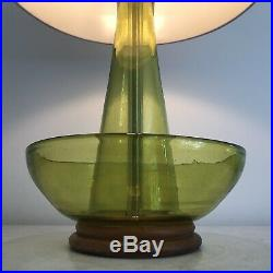 Uncommon Mid Century Art Glass Lamp by Blenko in Green with Original Finial