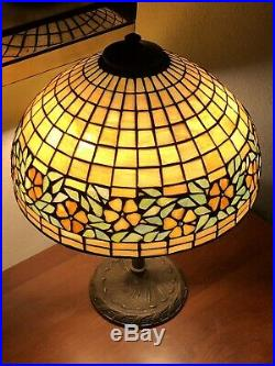 Unique Art Glass and Metal Co Leaded Glass Lamp Periwinkle Shade Nouveau Handel