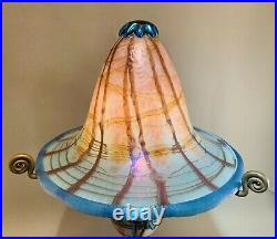 Unique Carl Radke Phoenix Studios 14.5 Opal Blue wisteria Art Glass Lamp WOW