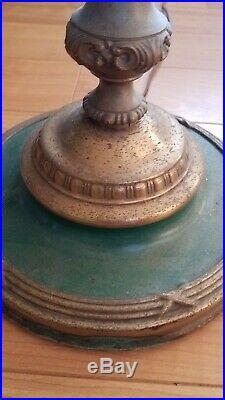 VINTAGE 1930s GREEN & BRASS ART NOUVEAU TORCHIERE FLOOR LAMP PEARLESCENT GLASS