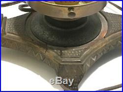 VINTAGE ART DECO METAL FIGURAL LAMPTWO Nudes Glass Globe Nymphs Pot Metal