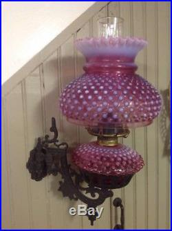 VINTAGE FENTON CRANBERRY HOBNAIL OPALESCENT OIL LAMP With CAST IRON WALL SCONCE