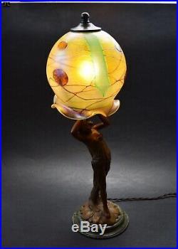 VTG Bohemian ART NOUVEAU 1920's Iridescent Glass Shade Bronze Lady Lamp