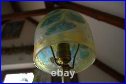 VTG Bohemian ART NOVUEAU 1920's Lamp with Loetz Iridescent Glass Shade