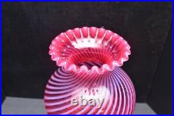 VTG Fenton Cranberry Swirl Spiral Twist 15 Student Lamp Gone with the Wind styl