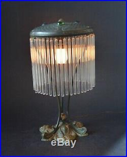 VTG French ART NOUVEAU 1920's Color Glass Stones, Glass Tubes Shade Brass Lamp