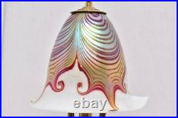 VTG Lundberg Studios Art Glass Table Lamp Lamp Iridescent Pulled Feather Signed
