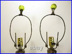 VTG Mid Century BLENKO LP-11 TABLE LAMP PAIR in CHARTREUSE Pinched ART GLASS