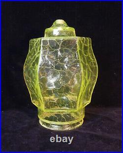 Vaseline Crackle Glass Uranium Art Nouveau Ceiling Light Lamp Ampin Rewired