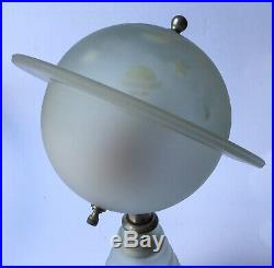 Very Rare 1939 Worlds Fair Saturn Lamp-WORKING- Art Deco Frosted Glass
