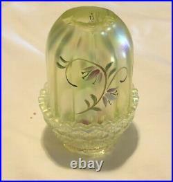 Very Rare Fenton Lily Trails Topaz / Vaseline Hand-painted Fairy Lamp