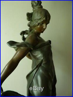 Victorian Antique Spelter Figural Art Nouveau Woman Lady 35 Lamp Newel Post