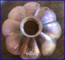 Victorian / Arts And Crafts / Nouveau Iridescent Acid Etched Lamp / Light Shade