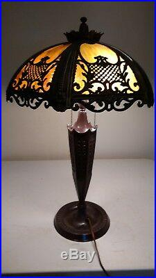 Victorian/Arts & Crafts Lamp Base signed 3 socket Miller Co withSlag Glass Shade